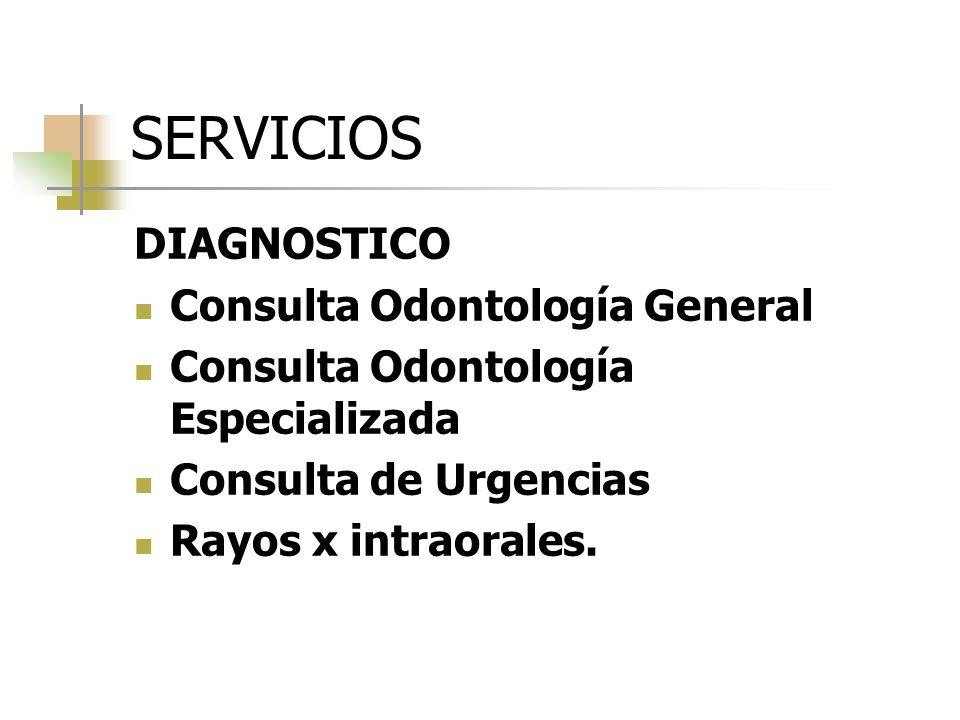 SERVICIOS DIAGNOSTICO Consulta Odontología General