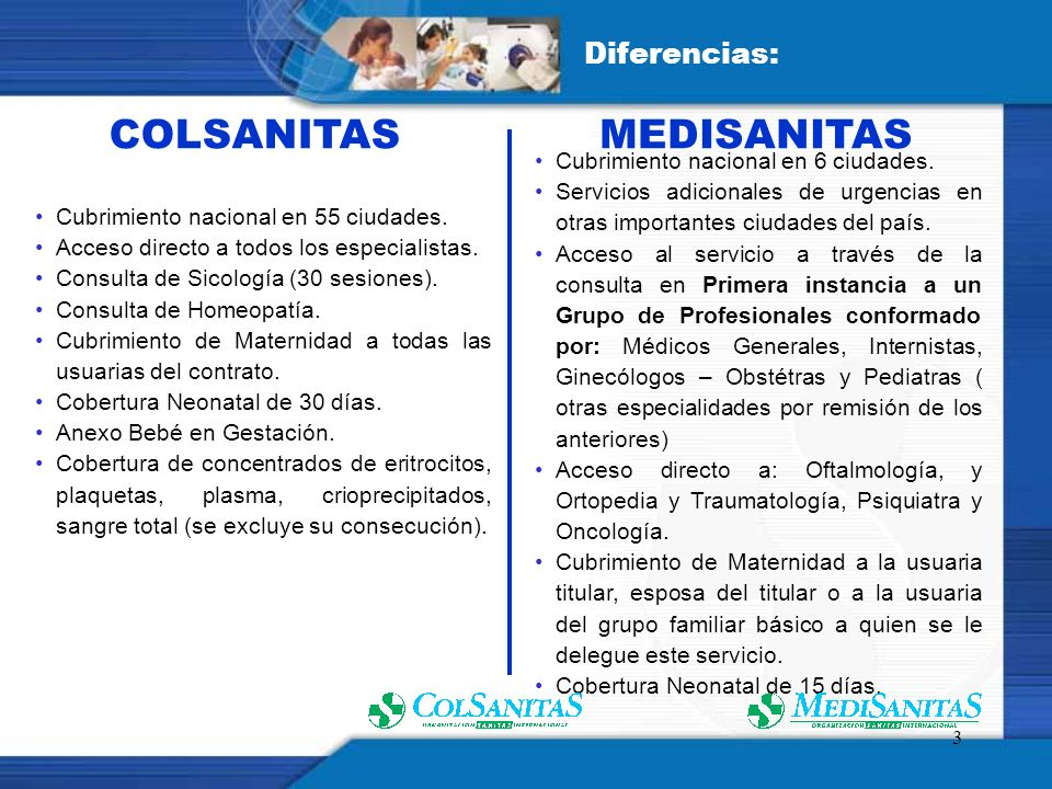 COLSANITAS MEDISANITAS Diferencias: