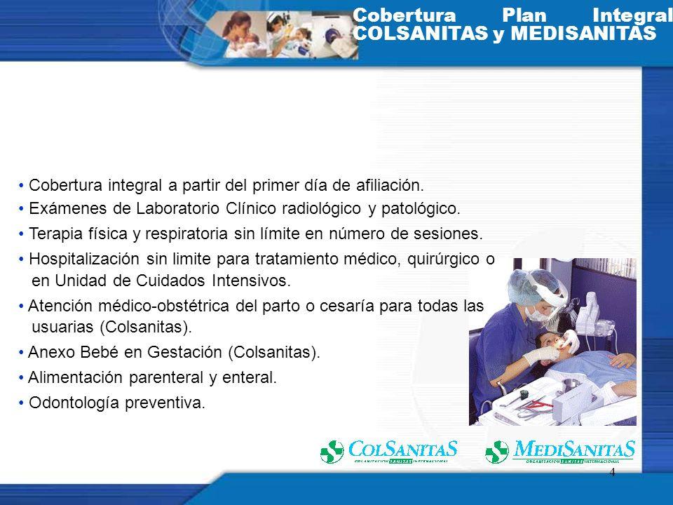 Cobertura Plan Integral COLSANITAS y MEDISANITAS