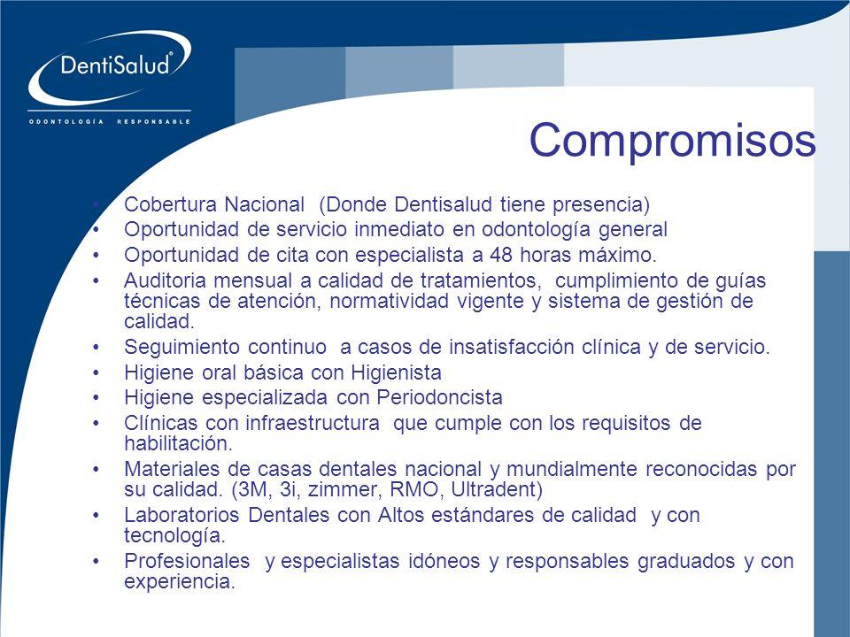 Compromisos Cobertura Nacional (Donde Dentisalud tiene presencia)