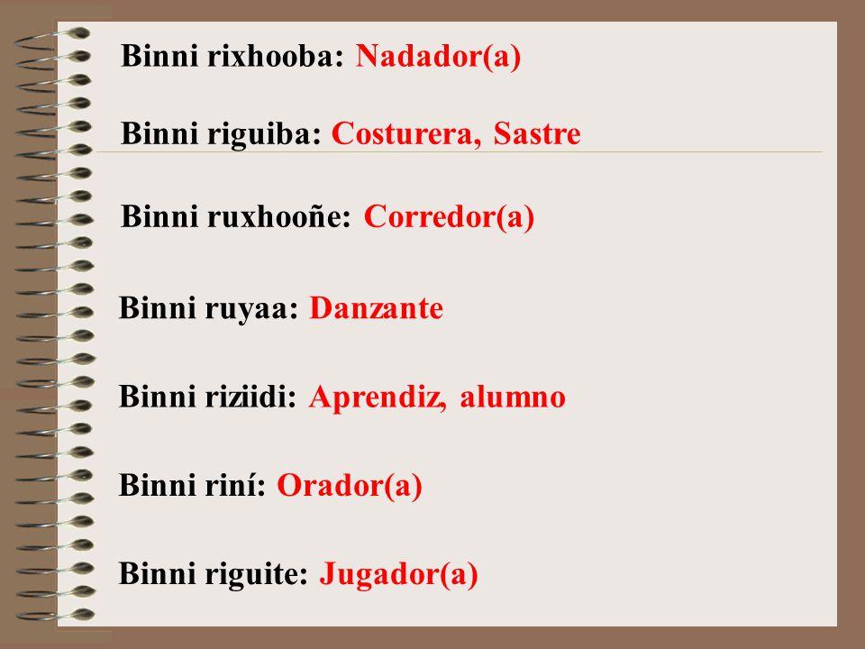 Binni rixhooba: Nadador(a)