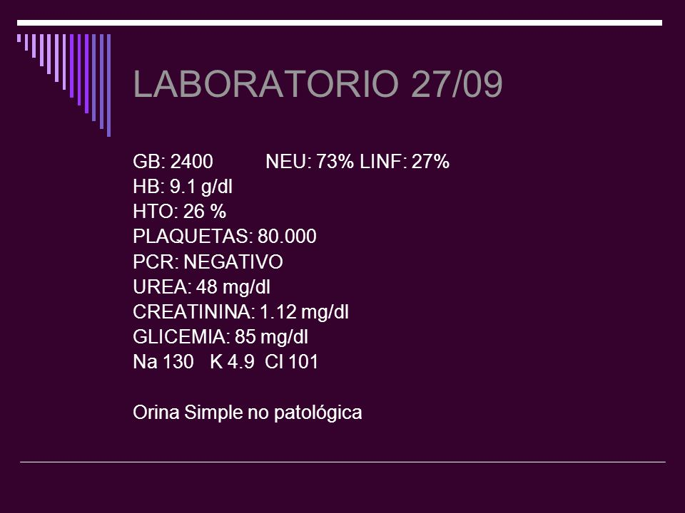 LABORATORIO 27/09 GB: 2400 NEU: 73% LINF: 27% HB: 9.1 g/dl HTO: 26 %