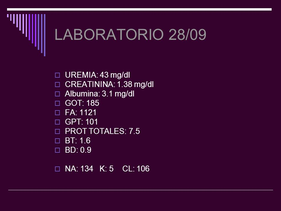 LABORATORIO 28/09 UREMIA: 43 mg/dl CREATININA: 1.38 mg/dl