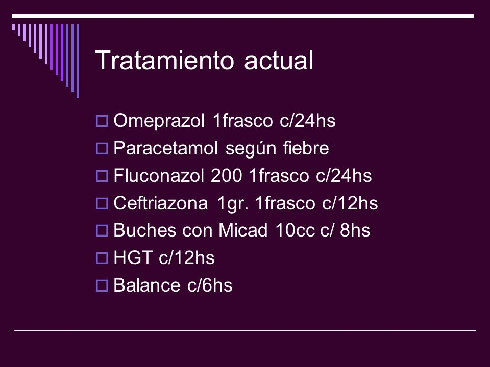 Tratamiento actual Omeprazol 1frasco c/24hs Paracetamol según fiebre