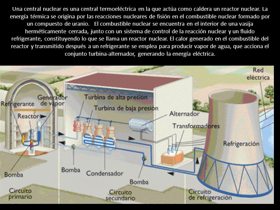 Una central nuclear es una central termoeléctrica en la que actúa como caldera un reactor nuclear.