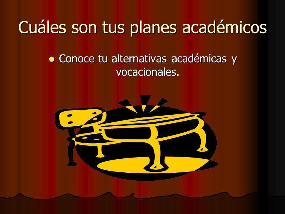 Cuáles son tus planes académicos