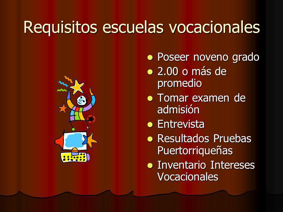Requisitos escuelas vocacionales