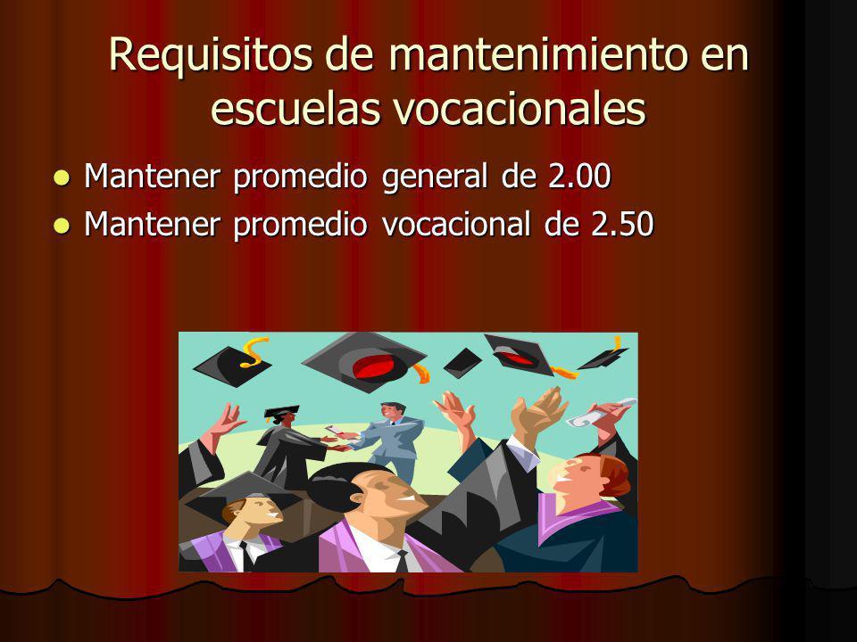 Requisitos de mantenimiento en escuelas vocacionales
