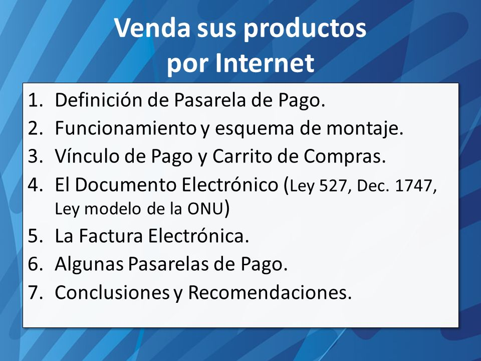 Venda sus productos por Internet