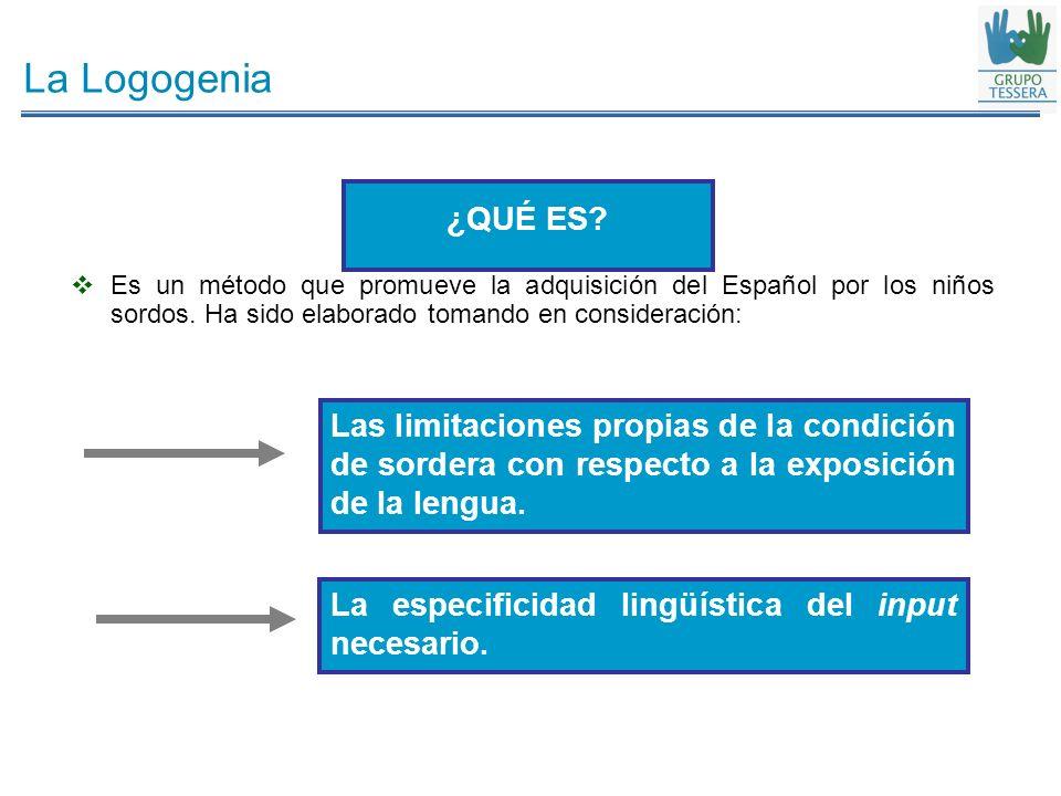 La Logogenia ¿QUÉ ES Es un método que promueve la adquisición del Español por los niños sordos. Ha sido elaborado tomando en consideración: