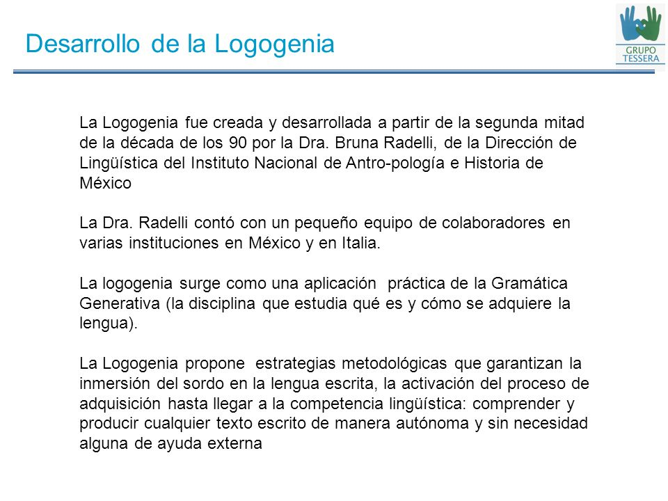 Desarrollo de la Logogenia