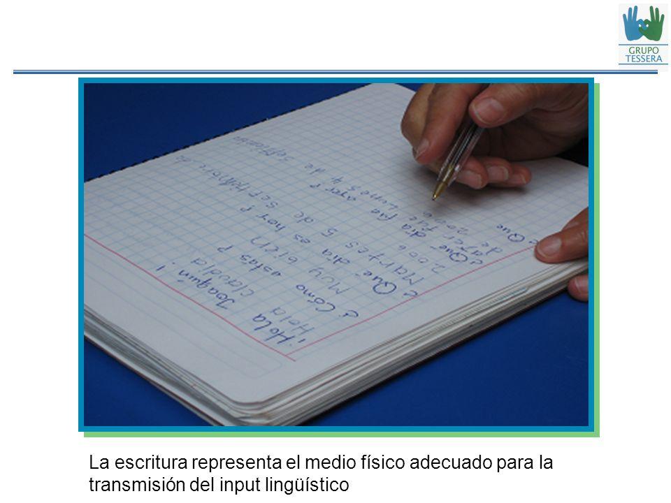 La escritura representa el medio físico adecuado para la transmisión del input lingüístico