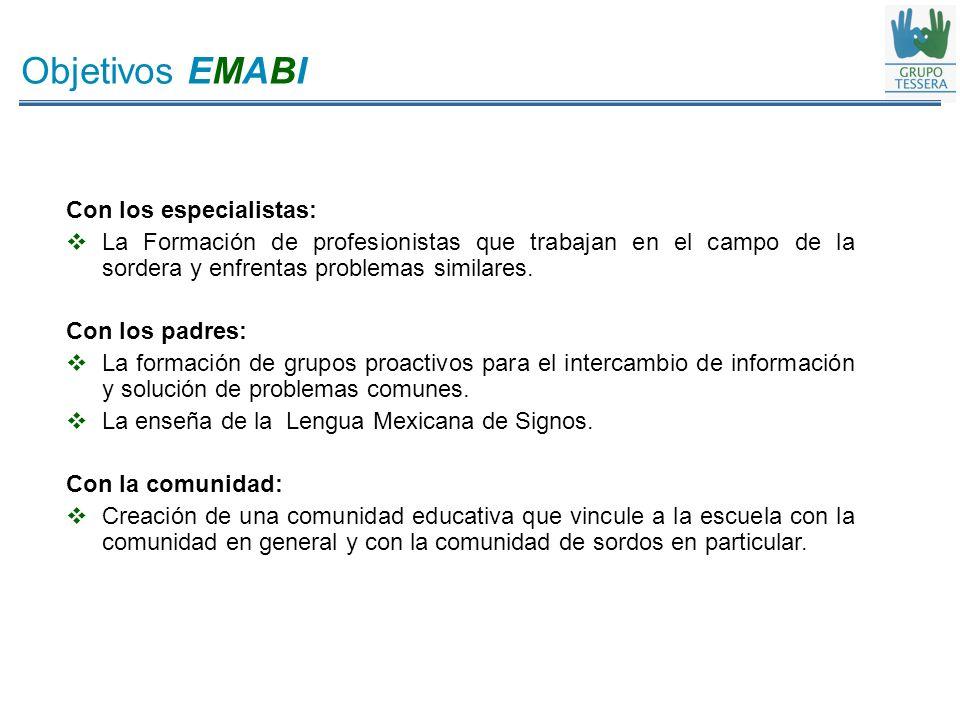 Objetivos EMABI Con los especialistas: