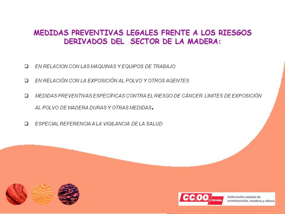 MEDIDAS PREVENTIVAS LEGALES FRENTE A LOS RIESGOS DERIVADOS DEL SECTOR DE LA MADERA: