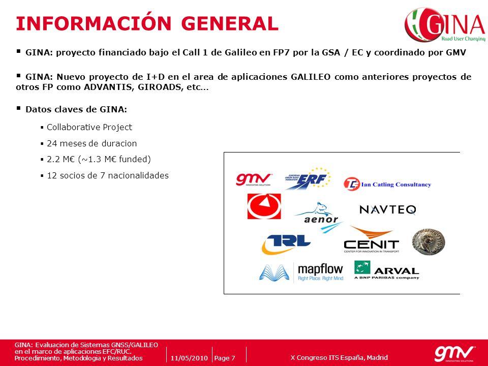 INFORMACIÓN GENERAL GINA: proyecto financiado bajo el Call 1 de Galileo en FP7 por la GSA / EC y coordinado por GMV.