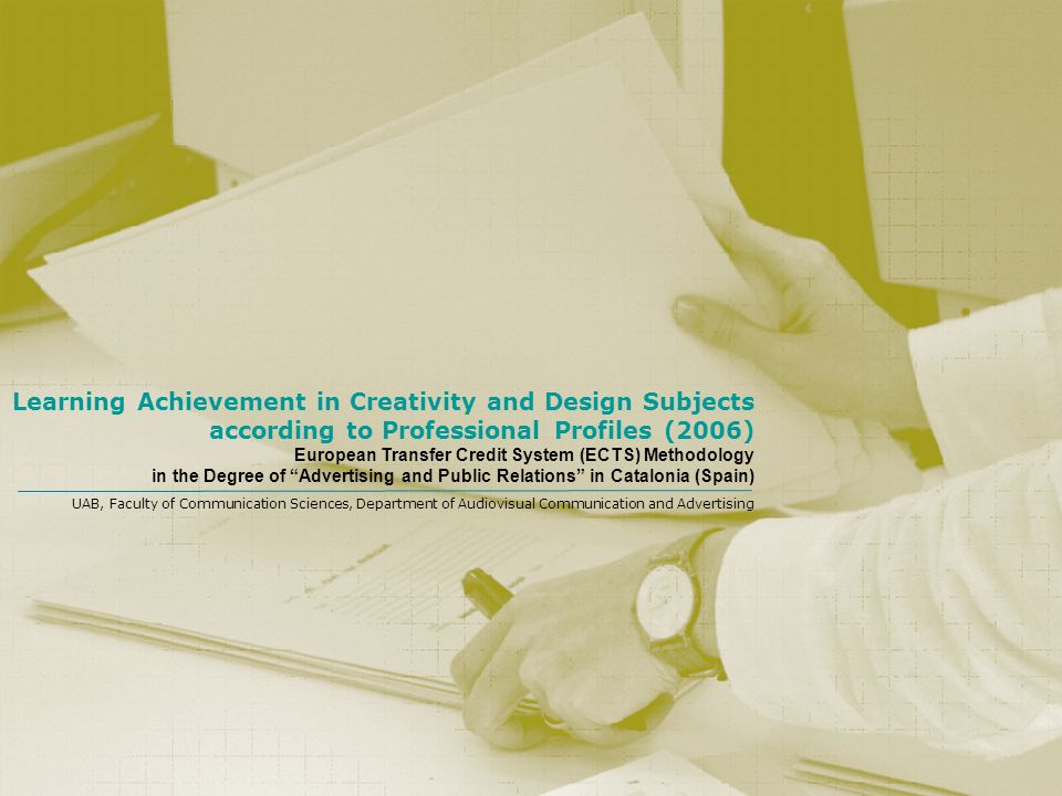 Learning Achievement in Creativity and Design Subjects according to Professional Profiles (2006)