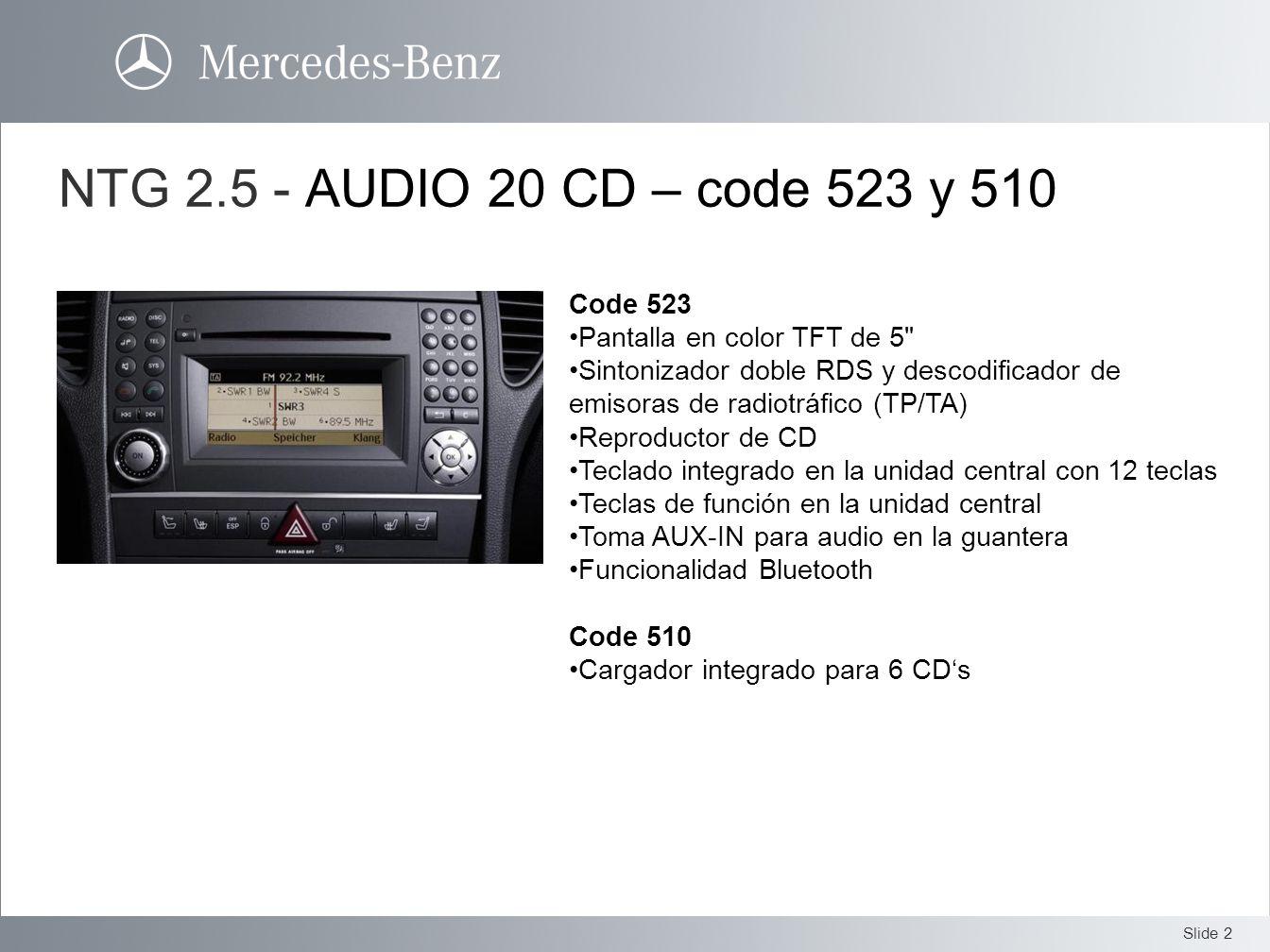 NTG 2.5 - AUDIO 20 CD – code 523 y 510 Code 523