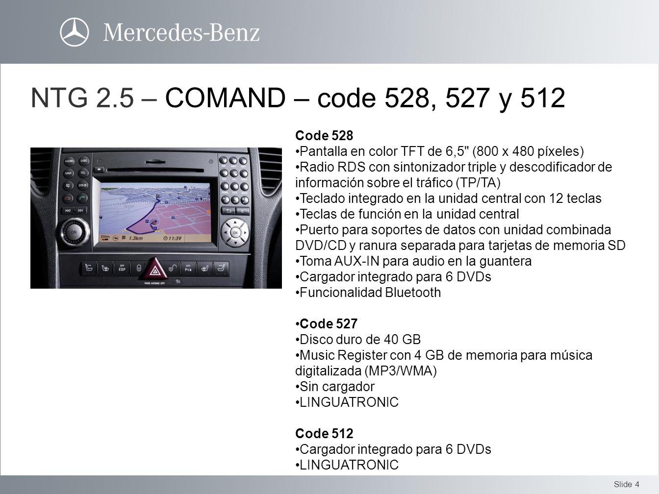 NTG 2.5 – COMAND – code 528, 527 y 512 Code 528