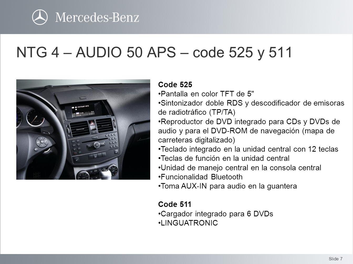 NTG 4 – AUDIO 50 APS – code 525 y 511 Code 525