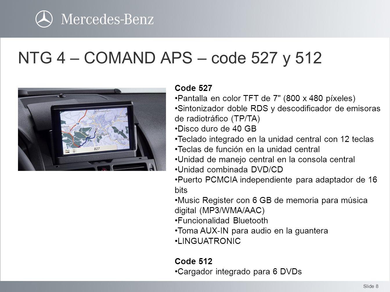 NTG 4 – COMAND APS – code 527 y 512 Code 527