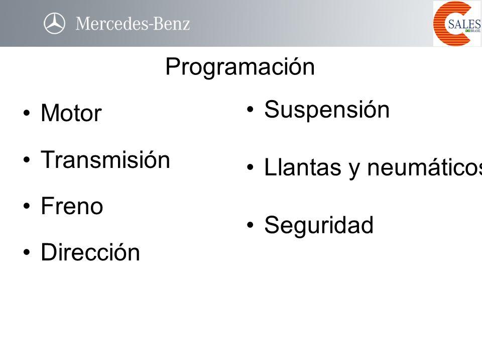 Programación Suspensión Motor Llantas y neumáticos Transmisión Freno