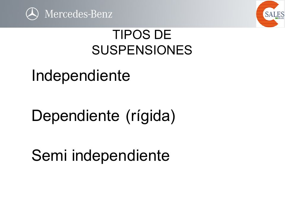 Independiente Dependiente (rígida) Semi independiente