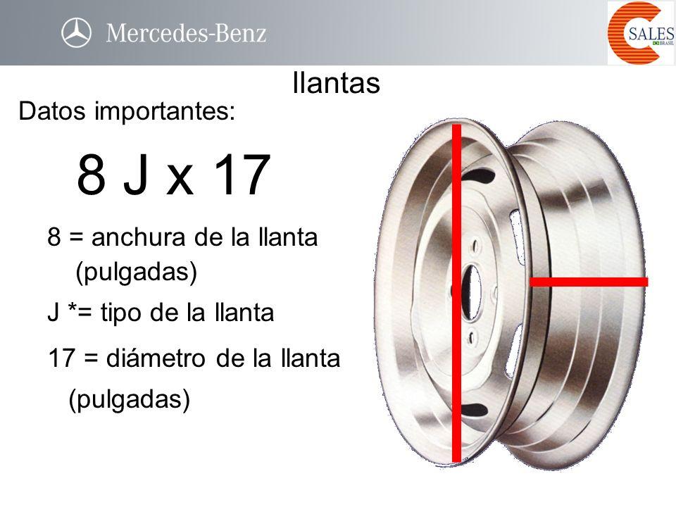 8 J x 17 llantas Datos importantes: