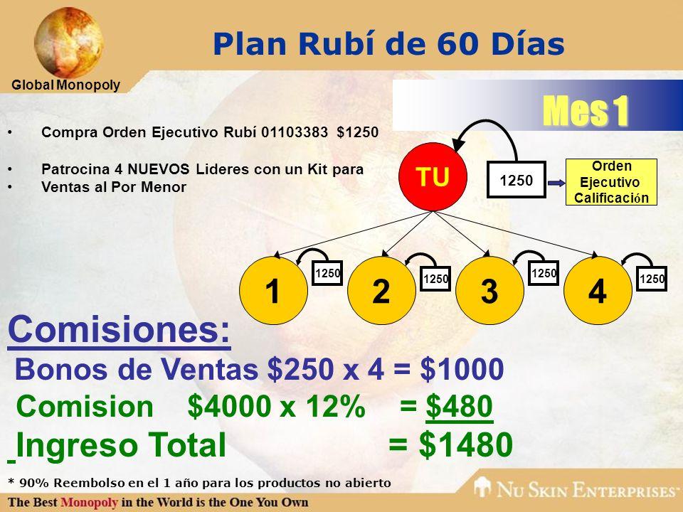 Mes 1 Comisiones: Plan Rubí de 60 Días 1 2 3 4