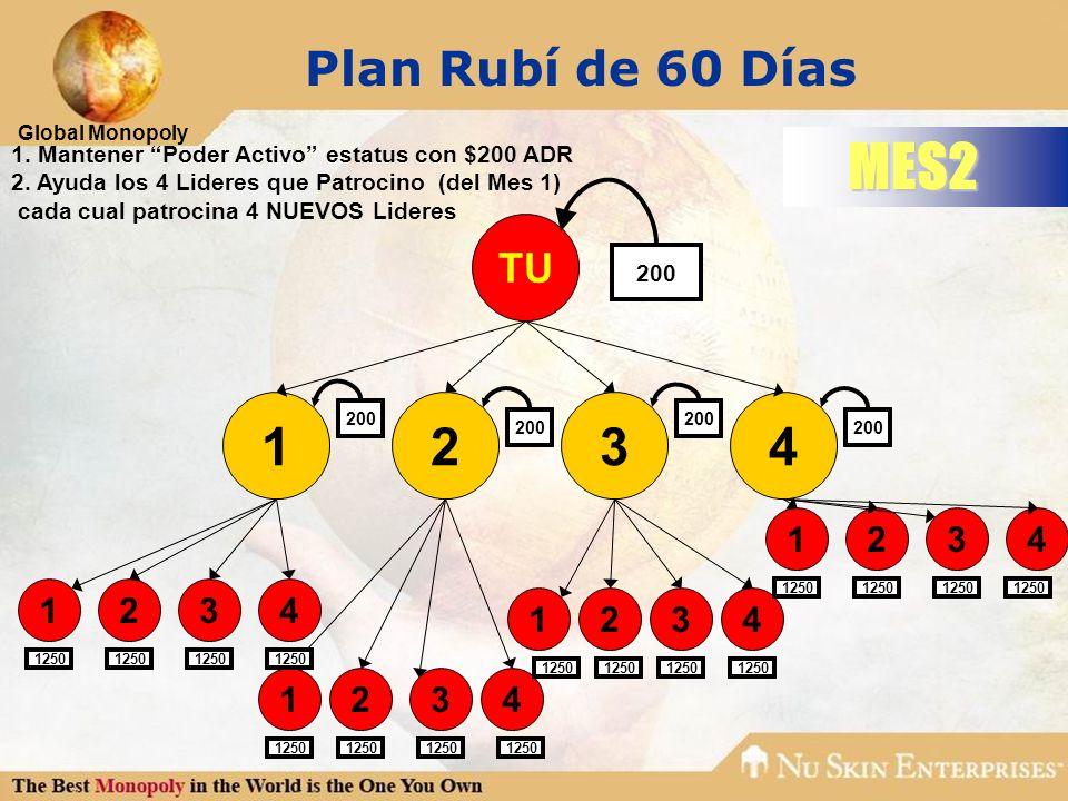Plan Rubí de 60 Días MES2. 1. Mantener Poder Activo estatus con $200 ADR. 2. Ayuda los 4 Lideres que Patrocino (del Mes 1)