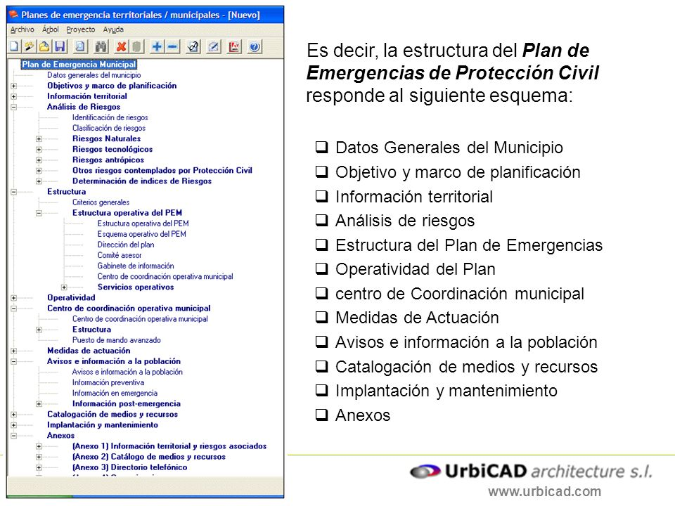 Es decir, la estructura del Plan de Emergencias de Protección Civil responde al siguiente esquema: