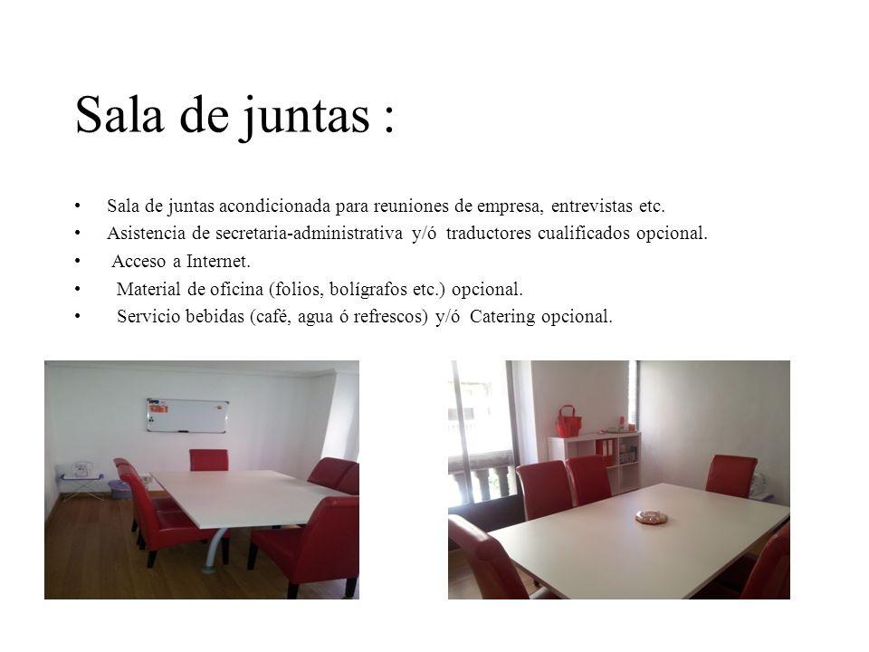 Sala de juntas : Sala de juntas acondicionada para reuniones de empresa, entrevistas etc.