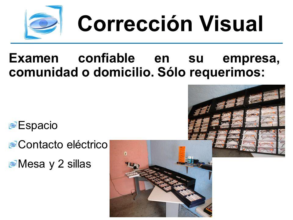 Corrección VisualExamen confiable en su empresa, comunidad o domicilio. Sólo requerimos: Espacio. Contacto eléctrico.