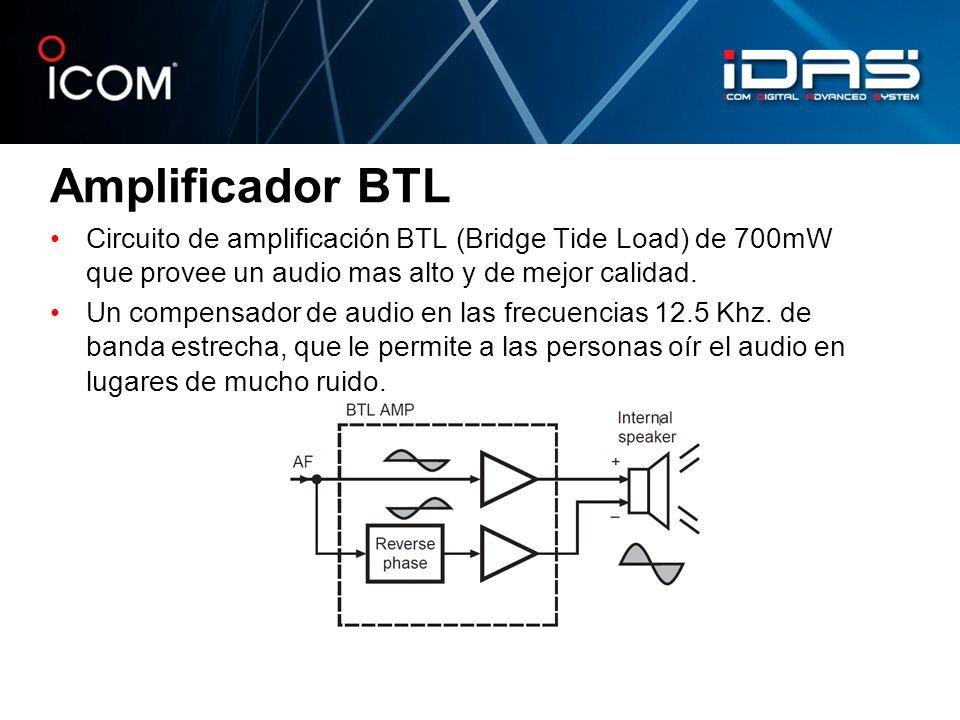 Amplificador BTL Circuito de amplificación BTL (Bridge Tide Load) de 700mW que provee un audio mas alto y de mejor calidad.