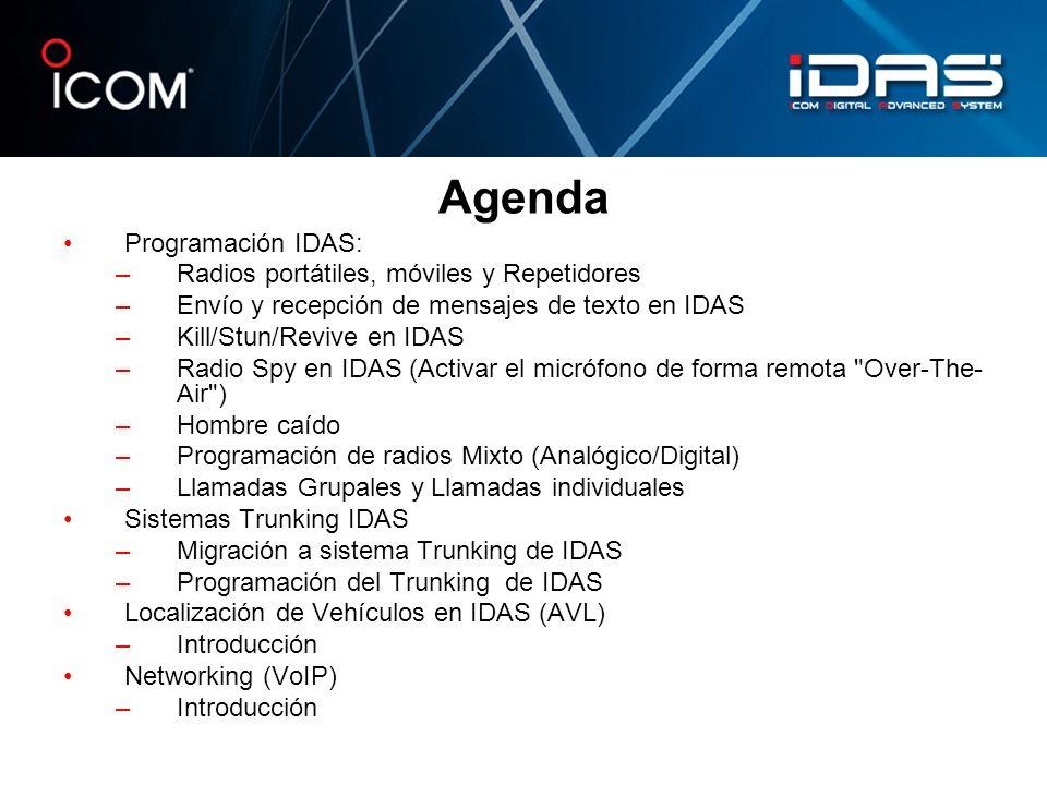 Agenda Programación IDAS: Radios portátiles, móviles y Repetidores