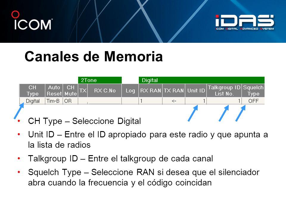 Canales de Memoria CH Type – Seleccione Digital