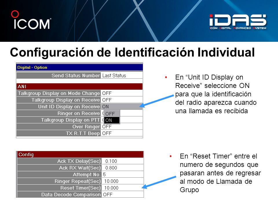 Configuración de Identificación Individual