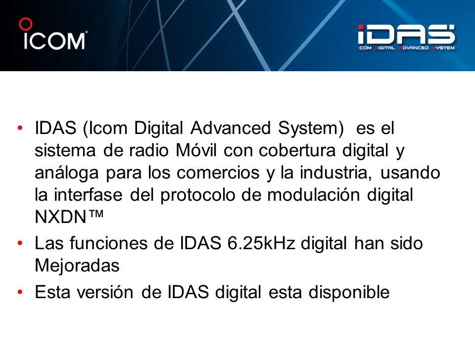 Las funciones de IDAS 6.25kHz digital han sido Mejoradas