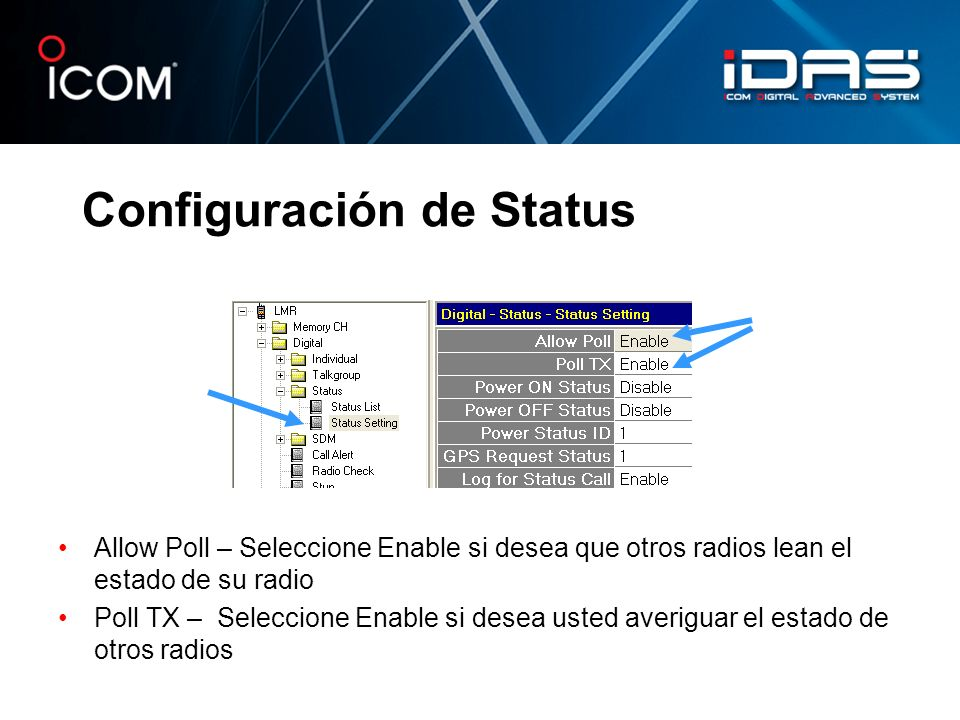 Configuración de Status