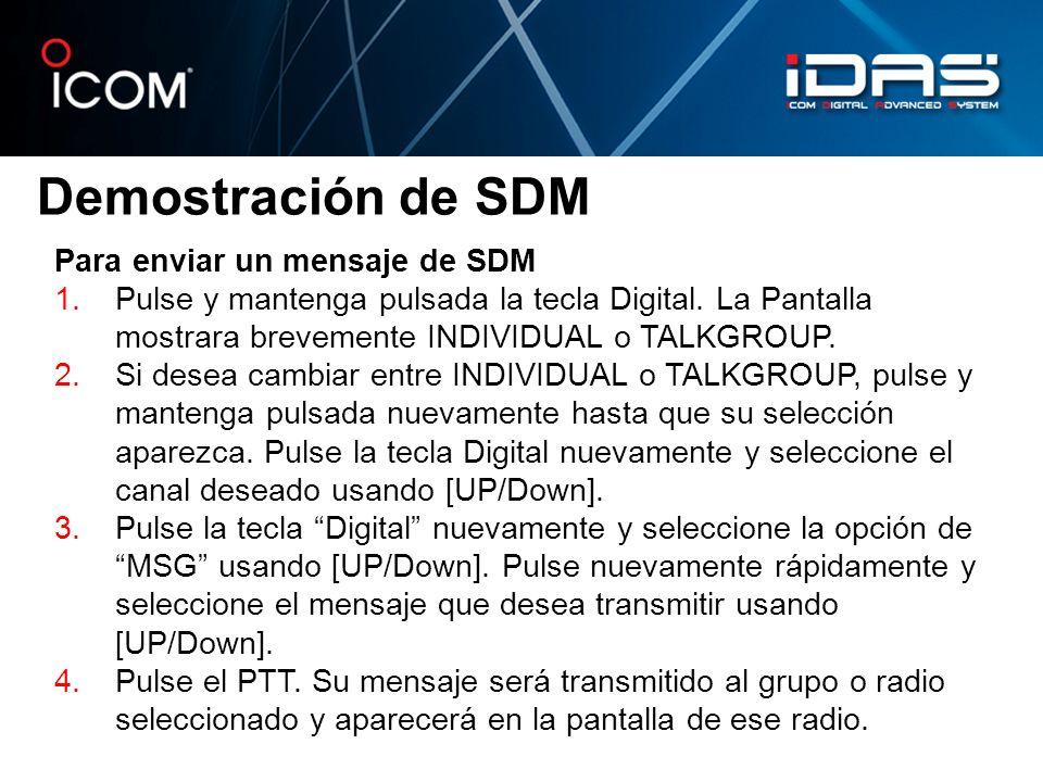 Demostración de SDM Para enviar un mensaje de SDM
