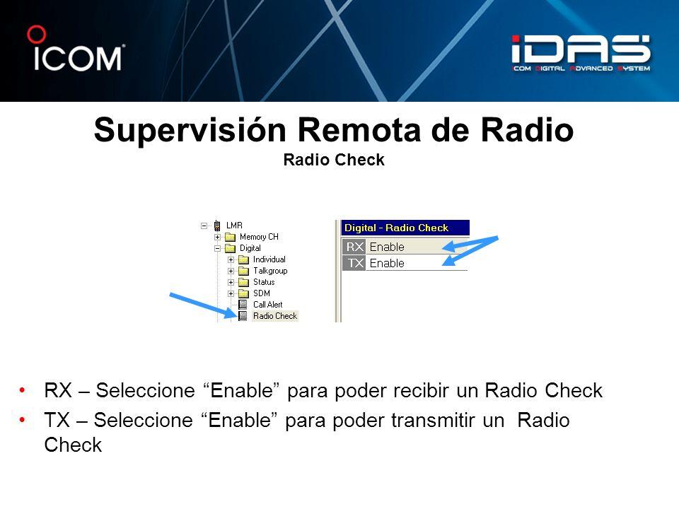 Supervisión Remota de Radio Radio Check