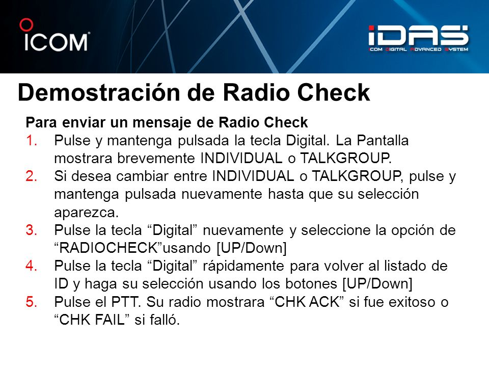 Demostración de Radio Check