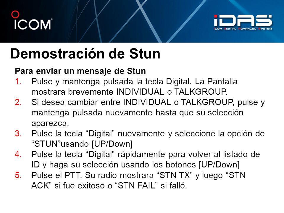 Demostración de Stun Para enviar un mensaje de Stun