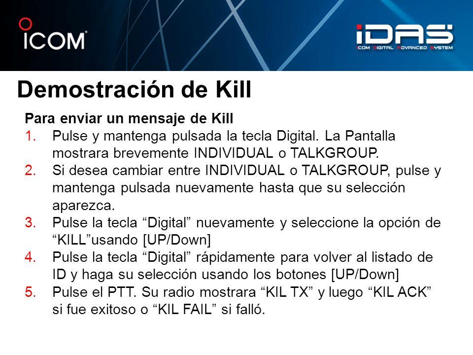 Demostración de Kill Para enviar un mensaje de Kill