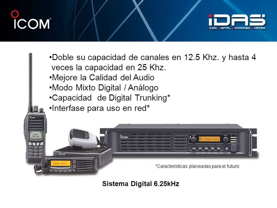 Doble su capacidad de canales en 12.5 Khz. y hasta 4