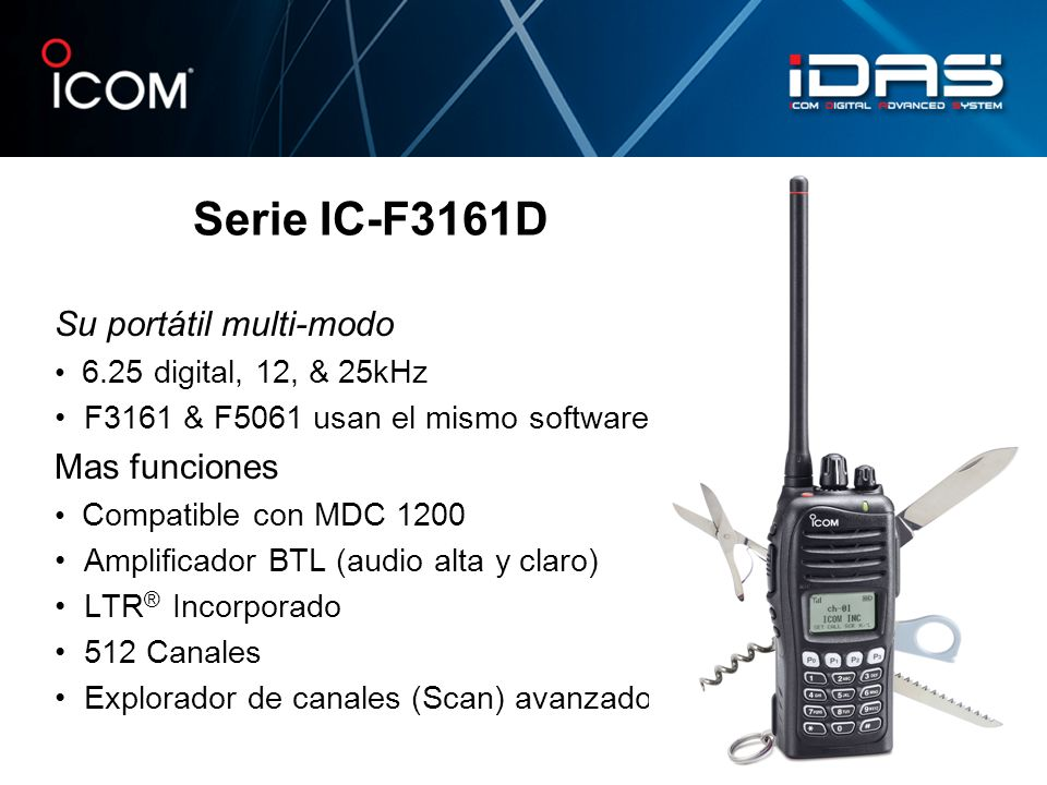 Serie IC-F3161D Su portátil multi-modo Mas funciones