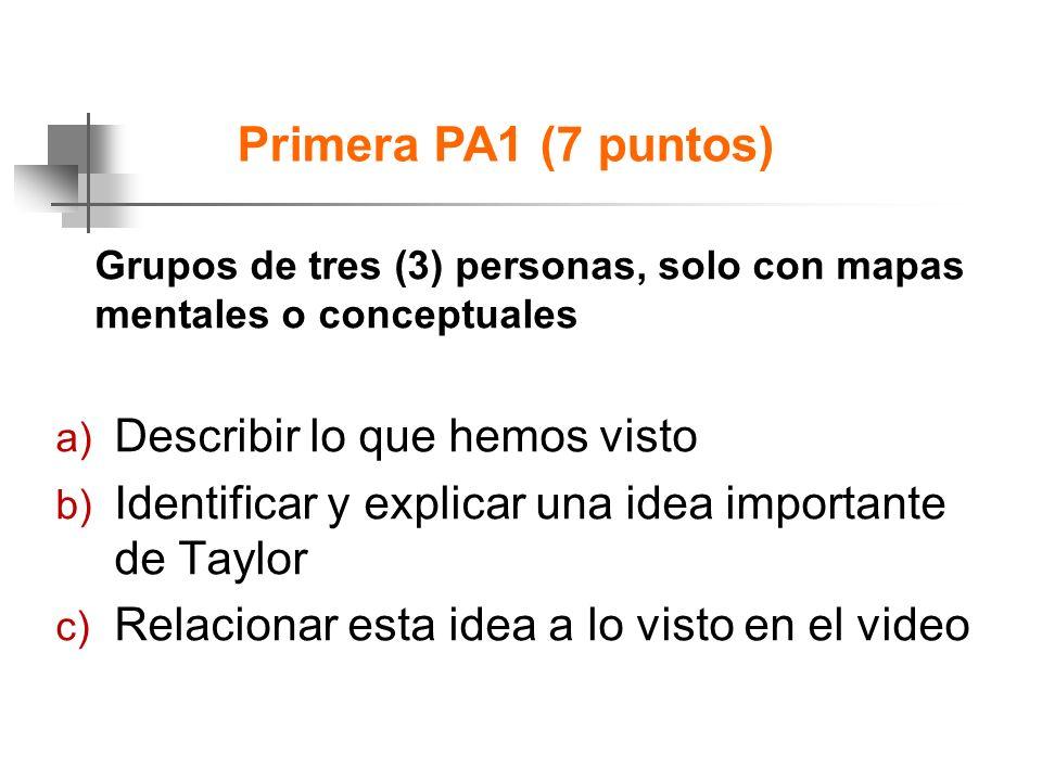Primera PA1 (7 puntos) Describir lo que hemos visto