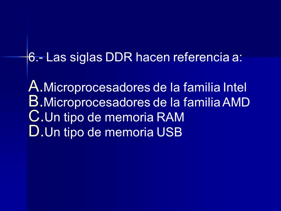 6.- Las siglas DDR hacen referencia a: