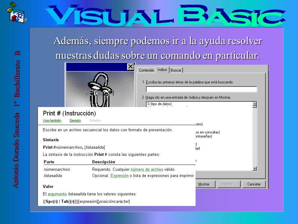 Visual Basic Además, siempre podemos ir a la ayuda resolver nuestras dudas sobre un comando en particular.