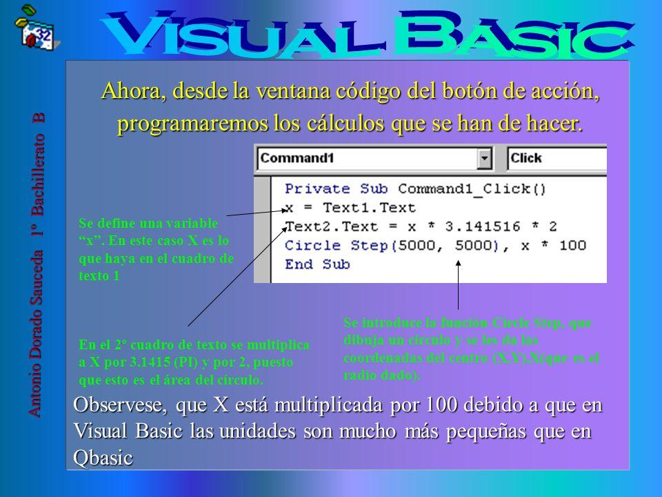 Visual Basic Ahora, desde la ventana código del botón de acción, programaremos los cálculos que se han de hacer.