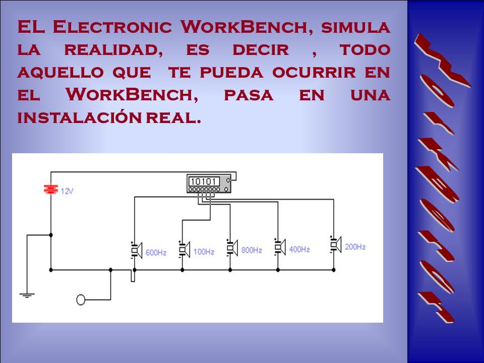 EL Electronic WorkBench, simula la realidad, es decir , todo aquello que te pueda ocurrir en el WorkBench, pasa en una instalación real.
